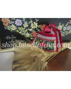 Bisaccia grande in orbace con rose in velluto e seta