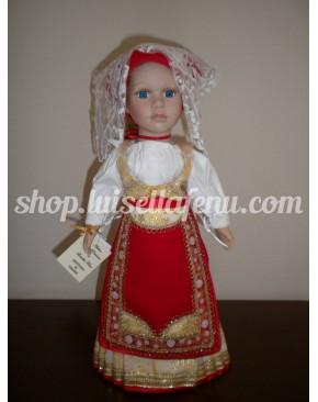 Bambola vestita in costume sardo materiale capo di monte